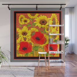 RED POPPIES YELLOW SUNFLOWERS  GREY PATTERN ART Wall Mural