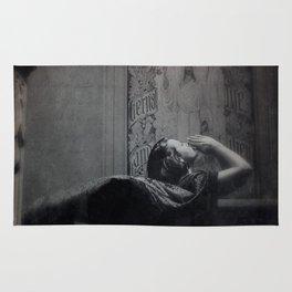 Slytherin Inspired Gothic Dark Angel Black and White Rug