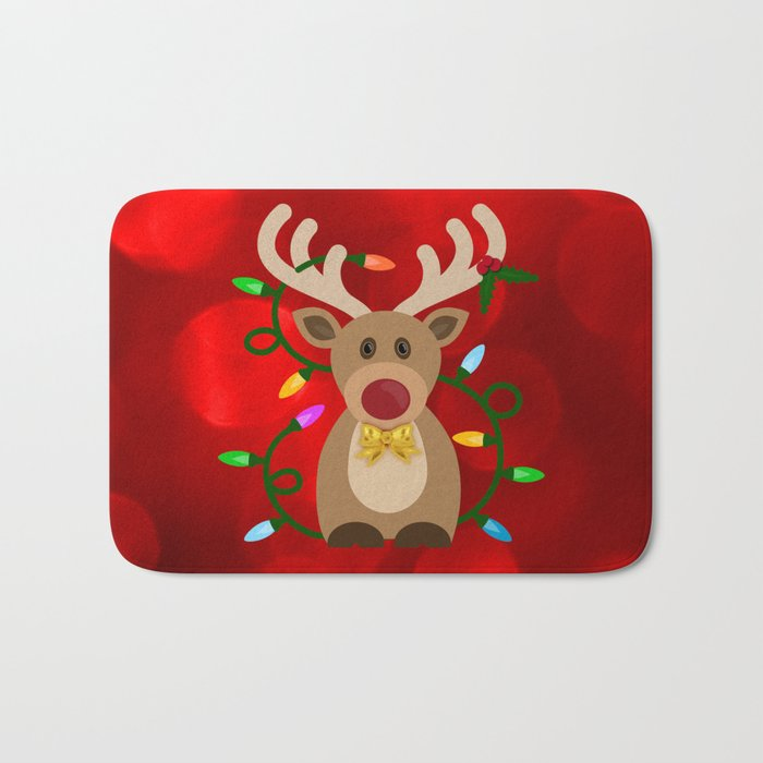 Christmas Reindeer in Lights Bath Mat