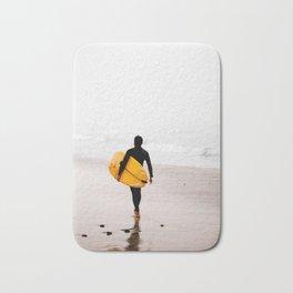 Yellow surf surfer Bath Mat
