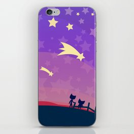 Starry sunset seen by cats iPhone Skin