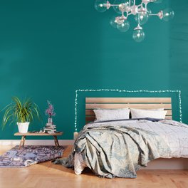 Classic Teal Simple Solid Color All Over Print Wallpaper