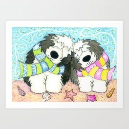 Maxwell and Maisie ~ Old English Sheepdogs on the Beach Art Print