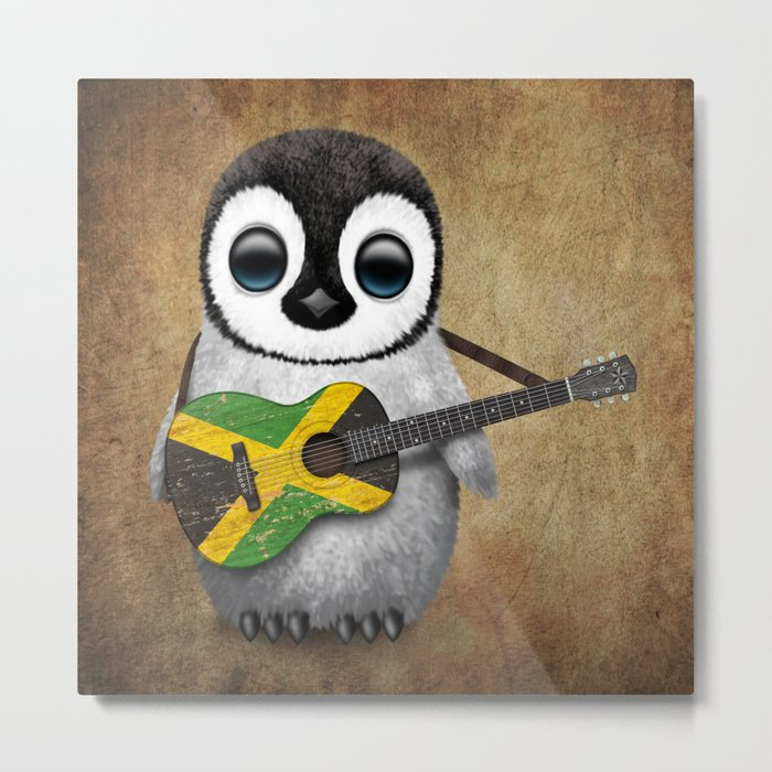 Baby Penguin Playing Jamaican Flag Guitar Metal Print