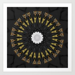 Dark Black Gold & White Marble Mandala Art Print