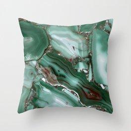 Luxury Malachite Marble Agate Throw Pillow