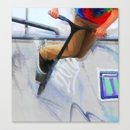 Downhill Run - Stunt Scooter Rider Canvas Print
