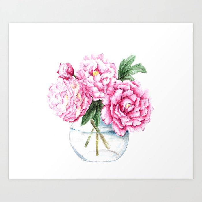Pink peony painting watercolor peony art pink flower bouquet art pink peony painting watercolor peony art pink flower bouquet art print mightylinksfo