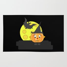 Funny emotionless pumpkin head with bat and moon Rug