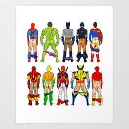 Superhero Butts Art Print