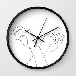 Crossed hands line drawing - Edie Wall Clock