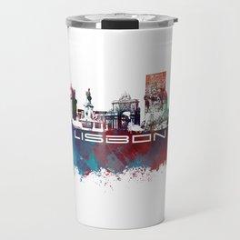 Lisbon blue art Travel Mug
