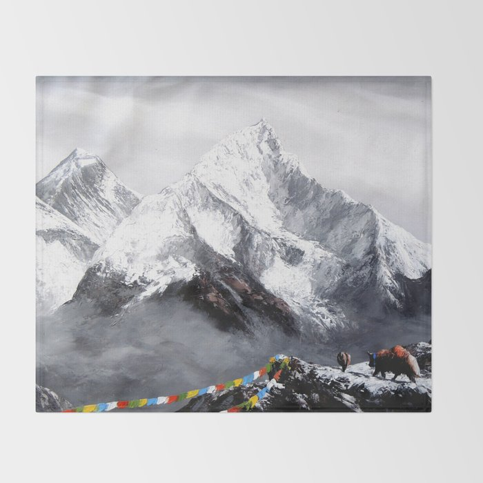 Panoramic View Of Everest Mountain Throw Blanket