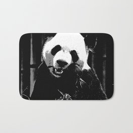 Cute Giant Panda Bear with tasty Bamboo Leaves Bath Mat