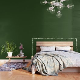 Solid Dark Forest Green Simple Solid Color All Over Print Wallpaper