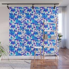 Blue mystic rustic flowers Wall Mural