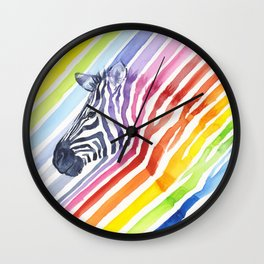 Zebra Rainbow Stripes Colorful Whimsical Animal Wall Clock