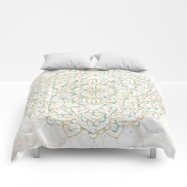 Marble Mandala Sea Shimmer Gold + Turquoise Comforters
