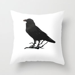Black Gothic Crow Raven - EAP Nevermore Gift Throw Pillow
