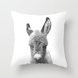 Black and White Baby Donkey Throw Pillow