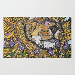 Lion in Lavender Painting Rug