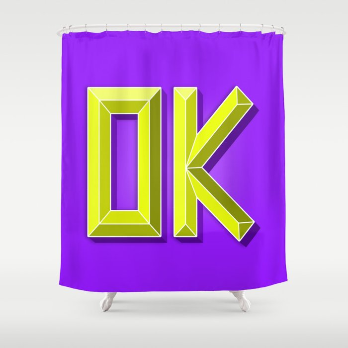 OK 3D Letters Violet Purple Lime Green Yellow Shower Curtain