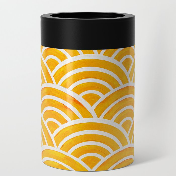 Japanese Seigaiha Wave – Marigold Palette Can Cooler