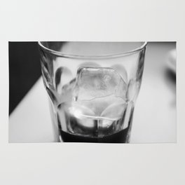 Timeless | Modern abstract black white coffee ice photography Rug