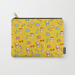 Coffee cup hipster pattern, yellow polka dot cool sunglasses pattern Carry-All Pouch