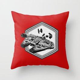 Millennium Falcon TIE Fighter Dotwork - Pointillism Art Throw Pillow