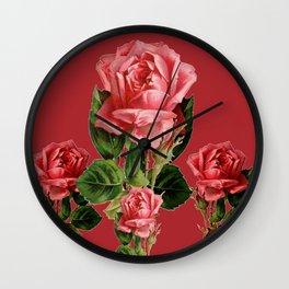 ROSE MADDER ANTIQUE VINTAGE ART PINK ROSES Wall Clock