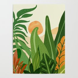 Summer In the Jungle / Contemporary Sunset Scene Poster
