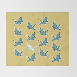 PAPER CRANES BABY BLUE AND YELLOW Throw Blanket