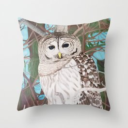 How Blue Your Eyes Do Appear, Barred Owl Throw Pillow