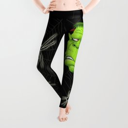 Frankenstein Ugly Portrait and Spiders Leggings