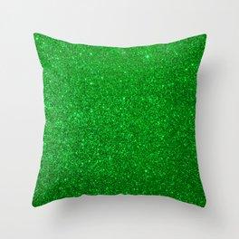 Emerald Green Shiny Metallic Glitter Throw Pillow