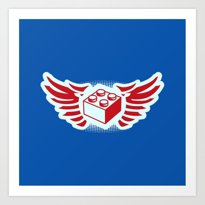 Brick Wings (Lego Radio DJ Robot) Art Print