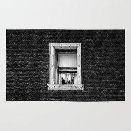 Brick Wall, Window, Torn Curtains in Los Angeles Rug