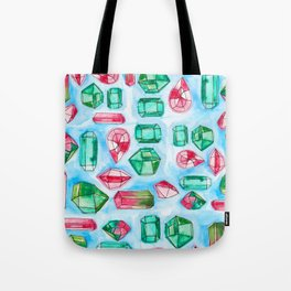 Red and Green Watercolor Gems Tote Bag