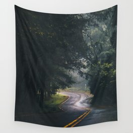 GREY - CONCRETE - ROAD - DAYLIGHT - JUNGLE - NATURE - PHOTOGRAPHY Wall Tapestry