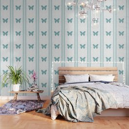 Decorative White Overlay Turquoise Marble Buttefly Wallpaper