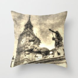 Big Ben and the Boadicea Statue Vintage Throw Pillow