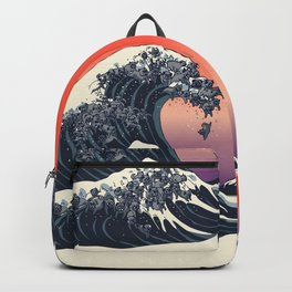 The Great Wave of Black Pug Backpack