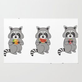 Raccoons with Fruit Rug