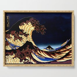 The GREAT Wave Midnight Blue Brown Serving Tray