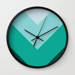 Green Teal Chevron Stripes Wall Clock