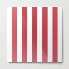 Strawberry red pink - solid color - white vertical lines pattern Metal Print