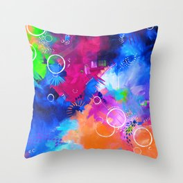 Scrap Paint 1 - Colorful abstract art Throw Pillow