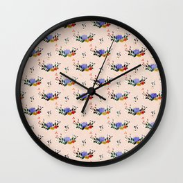Happiness blooms from within- delicate pastel pattern Wall Clock