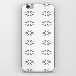 Simple White Grey Flowers iPhone Skin